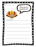 Thanksgiving Writing Activity: I Am Thankful For