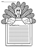 Thanksgiving:  I Am Thankful Writing Page Freebie with Word Splash