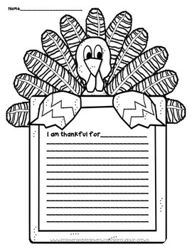 Thanksgiving:  I Am Thankful Writing Page Freebie with Wor