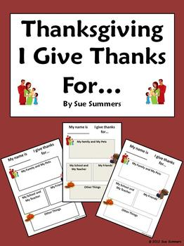 Thanksgiving - I Give Thanks For...