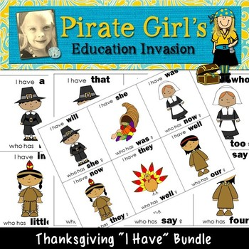 """Thanksgiving """"I Have"""" Game (dolch bundle)"""