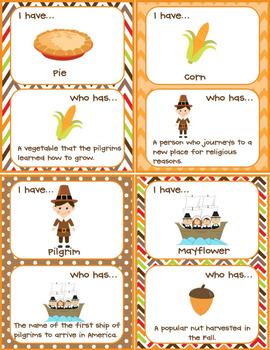 Thanksgiving I Have, Who Has? Activity (32 Cards!)