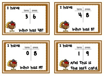 Thanksgiving - I Have . . Who Has? -  Tens and Ones Place Value