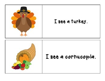 Thanksgiving - I See Sight Word Reading Pocket Chart Printbale