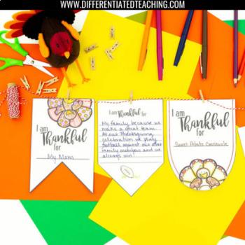 """Thanksgiving """"I am Thankful"""" Bunting Banner- November No Prep Writing Activity"""