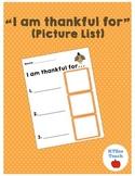 Thanksgiving I am Thankful For List