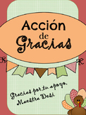"Thanksgiving ""I am thankful for"" / Acción de Gracias ""Doy"
