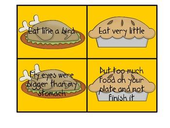 Thanksgiving Idiom Match-Turkey and Pie