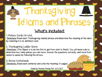 Thanksgiving Idioms Cards and Game with a BONUS worksheet