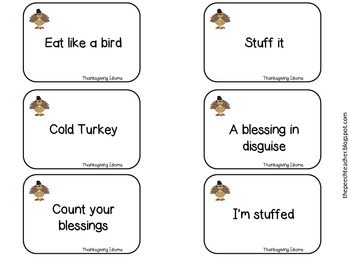 thanksgiving idioms cards and game with a bonus worksheet by the 39 peech teacher. Black Bedroom Furniture Sets. Home Design Ideas