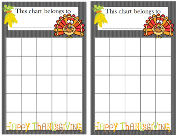 Thanksgiving Incentive Chart