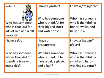 "Thanksgiving Inference Game ""Who has somone who is thankful for..."" & Coloring"