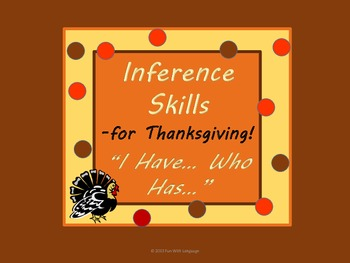"""Thanksgiving Inference Game """"Who has somone who is thankfu"""