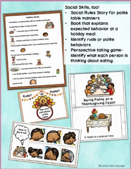 Thanksgiving Social Language Activities: Riddles, Articulation & Manners Games