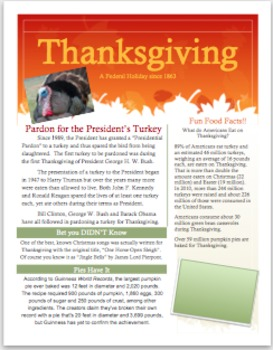 Thanksgiving Informational Flyer with Questions for Middle