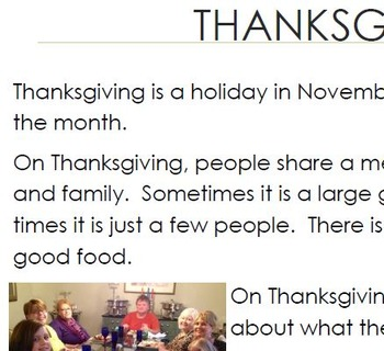 Thanksgiving Informational Text