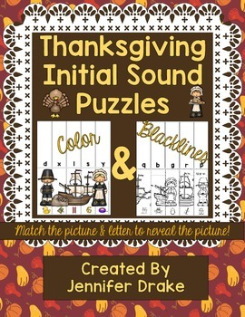 Thanksgiving Initial Sounds Puzzles  Color & Blacklines