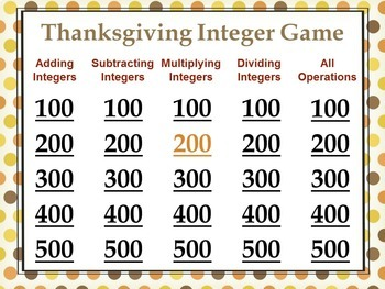 Thanksgiving Integer Game - Similar to Jeopardy