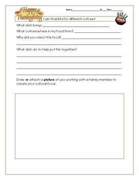 Thanksgiving Interactive Homework/Food Project