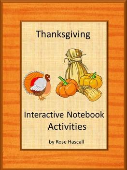 Thanksgiving Literacy Center Math Center Fine Motor Notebook Activities