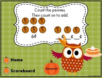 Thanksgiving Interactive Powerpoint Math Game- First Grade Edition