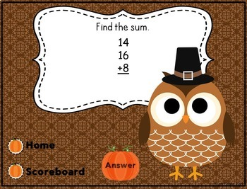 Thanksgiving Interactive Powerpoint Math Game- Second Grade Edition