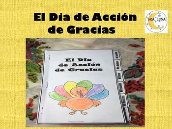 Spanish Thanksgiving Interactive tab book El Dia de Acción