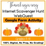 Thanksgiving Internet Scavenger Hunt WebQuest Google Form