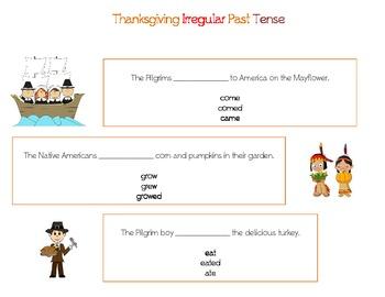 Thanksgiving Irregular Past Tense Verbs in Sentences