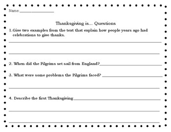 Thanksgiving Is... by Gail Gibbons Questions and Class Book