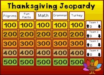 Thanksgiving Jeopardy Promethean ActivInspire Flipchart Game!