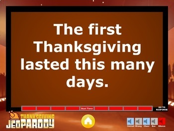 Thanksgiving Jeopardy Trivia Powerpoint Game - Mac and PC Compatible