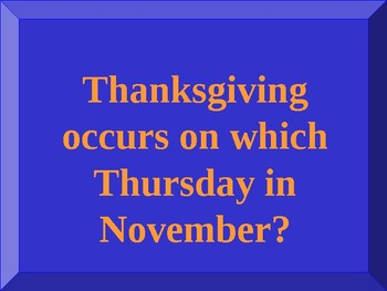 Thanksgiving Jeopardy on PowerPoint
