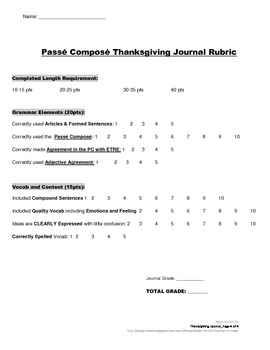 Thanksgiving Journal with Passe Compose for French Students: Rubric Included