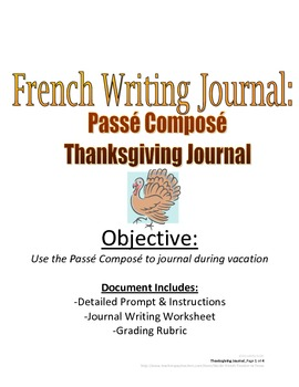 Thanksgiving Journal with Passe Compose for French Student