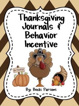 Thanksgiving Journals & Behavior Management