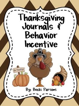 Thanksgiving Journals & Behavior Management