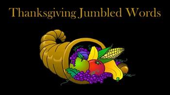 Thanksgiving Jumbled Words Activity