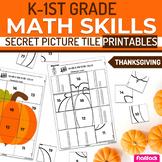 Thanksgiving K-1st Grade Math Skills Secret Picture Tile P