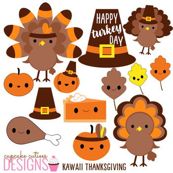 Thanksgiving Kawaii Clip Art Digital Graphics -Commercial Use