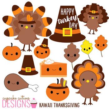 Thanksgiving Kawaii Clip Art Digital Graphics -Commercial Use