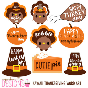 Thanksgiving Kawaii Word Art Digital Clip Art Digital Graphics -Commercial Use
