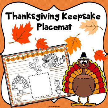 Thanksgiving Keepsake Placemat Activity