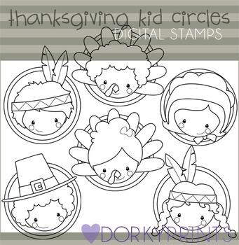 Thanksgiving Kid Circles Black Line Clip Art