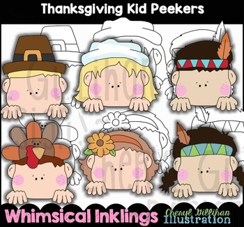Thanksgiving Kid Peekers Clipart Collection NO LICENSE REQUIRED