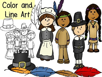 Thanksgiving Kids Clip Art Pack- Color and Line Art 16pc set