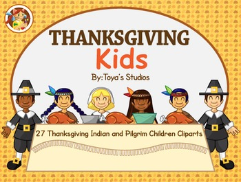 Thanksgiving Kids- Indian and Pilgrim Children Clipart Set