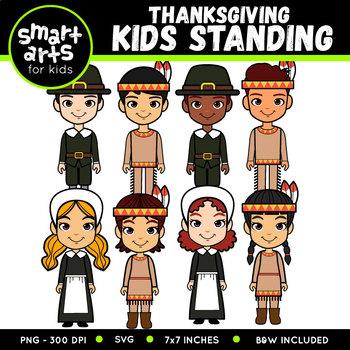 Thanksgiving Kids Standing Clip Art