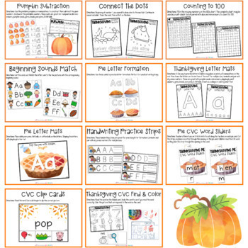 Thanksgiving Kindergarten Math & Literacy Pack