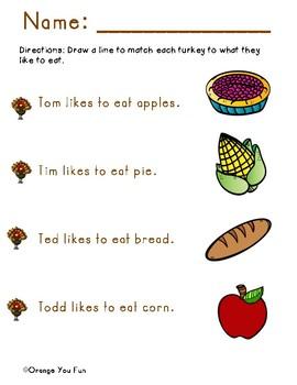 Thanksgiving Kindergarten Activity Bundle Packet